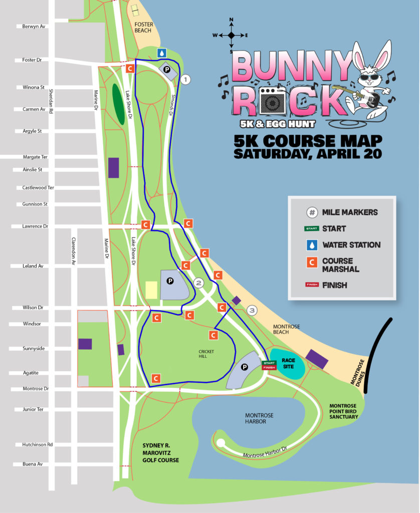Course Map » Bunny Rock Chicago 5K and Egg Hunt on
